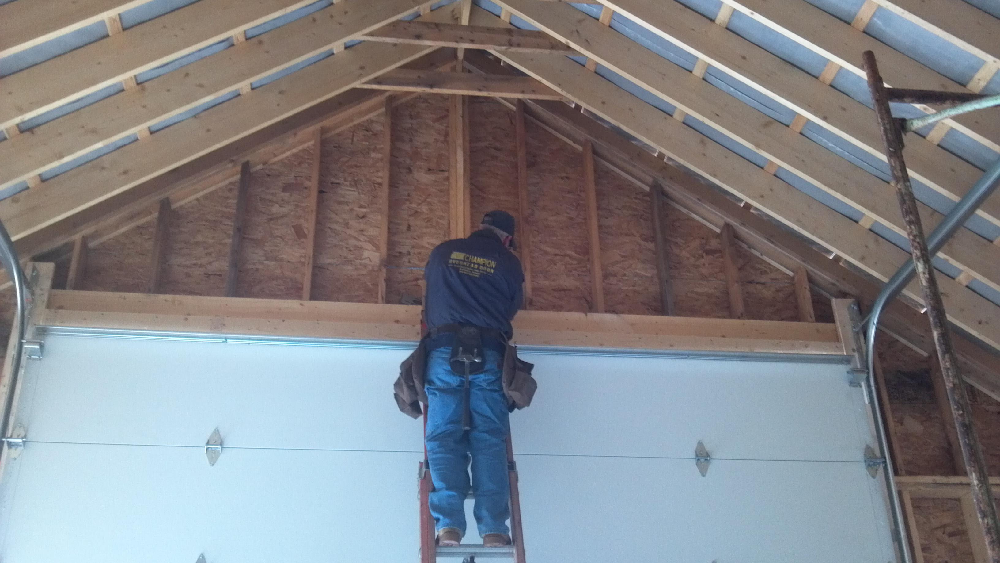 Our Team Installing The New Garage Door In Perkinsville Vt